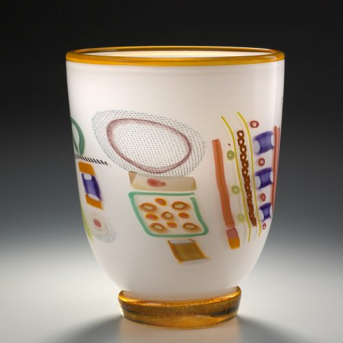 Ivory Vase by Pizzichillo & Gordon Glass. (Art Glass Vase)