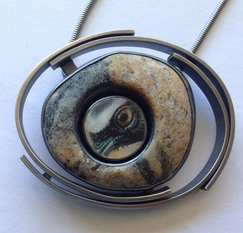 Oriole Necklace and Brooch by Amy Faust. (Hand-made Silver Necklace)