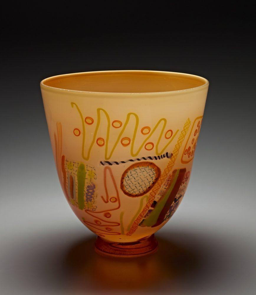Peach Vase by Pizzichillo & Gordon Glass. (Art Glass Vase)