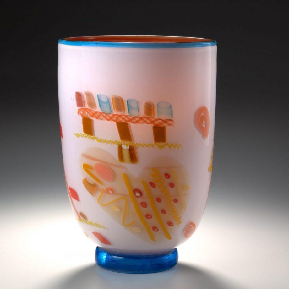 Rose Vase with Heart by Pizzichillo & Gordon Glass. (Art Glass Vase)