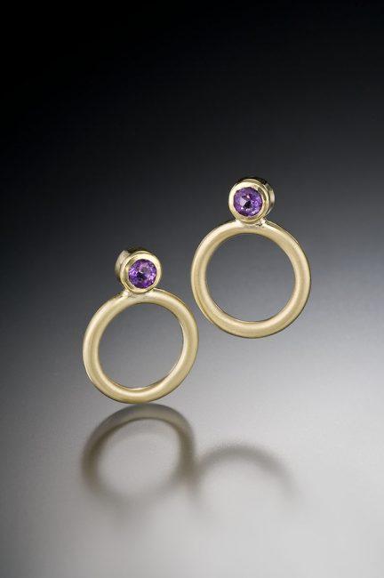 Charm Earrings by Ilene Schwartz. (Hand-made gold Earrings)