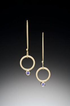 Hanging Charm Earrings by Ilene Schwartz. (Hand-made gold Earrings)