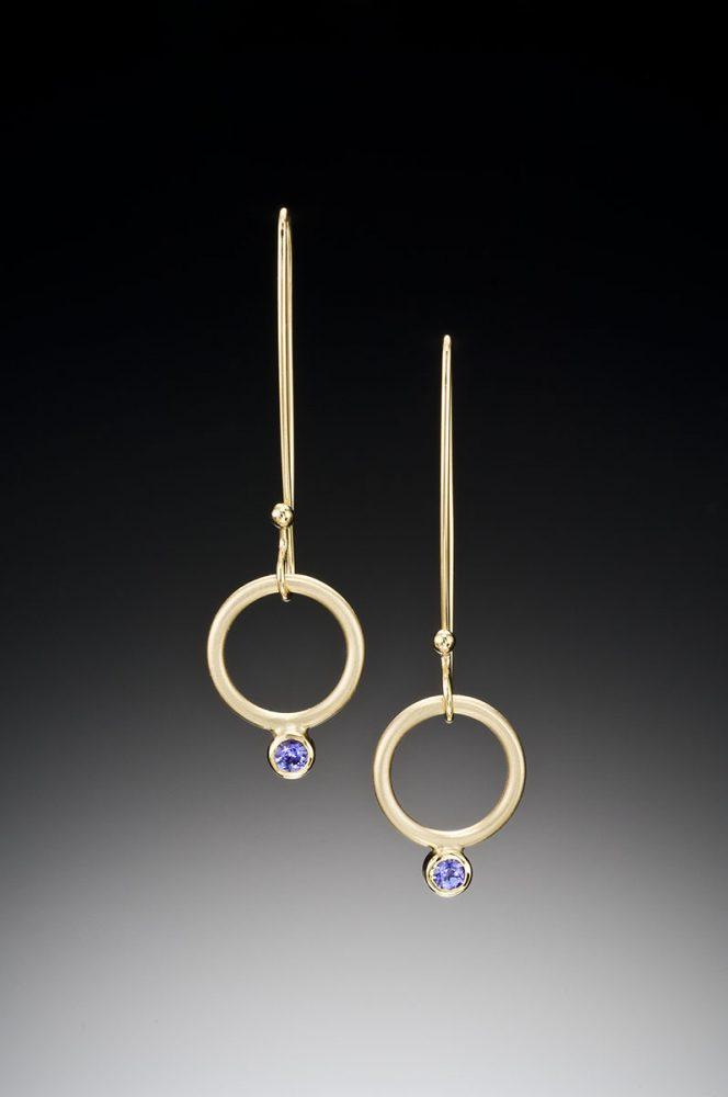 Hanging Charm Earrings by Ilene Schwartz. (Hand-made gold Earrings)