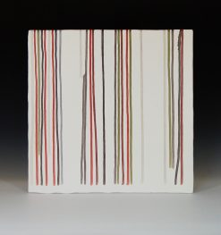 Line Red and Olive by James Aarons. (Ceramic Wall Sculpture)