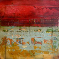 Red Fresco I by Helene Steene. (Abstract Mixed Media Painting)