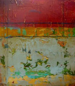 Red Fresco II by Helene Steene. (Abstract Mixed Media Painting)