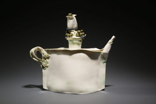 T, black Pearls by Inge Robert. (Stoneware Porcelain Vessel)