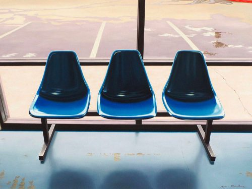 Three Blue Seats by Matt Condron. (Oil Painting)