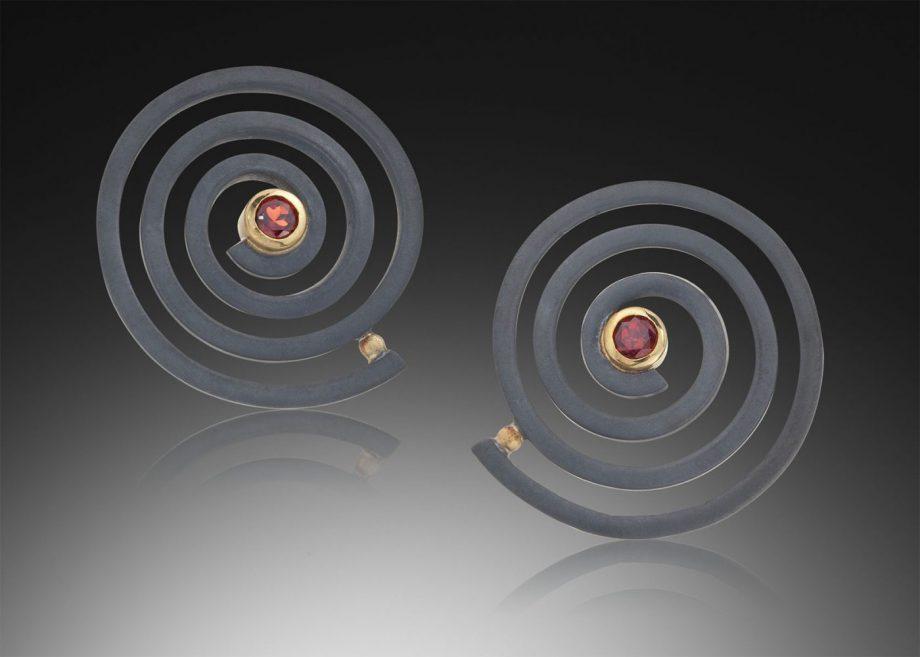 Spiral Earrings by Ilene Schwartz. (Hand-made Silver Earrings)