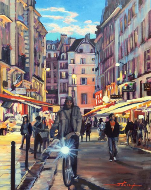 Paris, Evening Ride. Oil Painting by Sharon Rusch Shaver