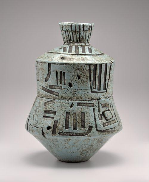 Turquoise Vessel. Ceramic Sculpture by Boyan Moskov.