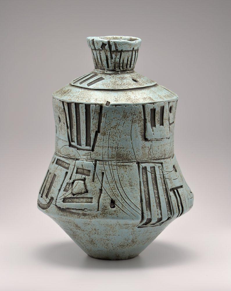 Turquoise Vessel Ceramic Sculpture By Boyan Moskov