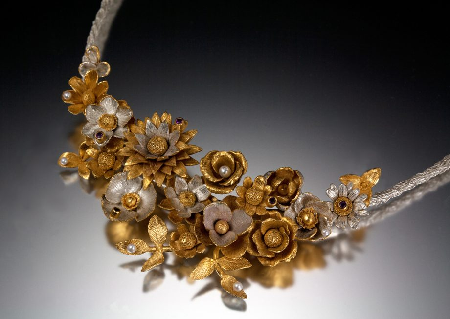 Flower Basket Necklace. Art Jewelry by Carol Salisbury
