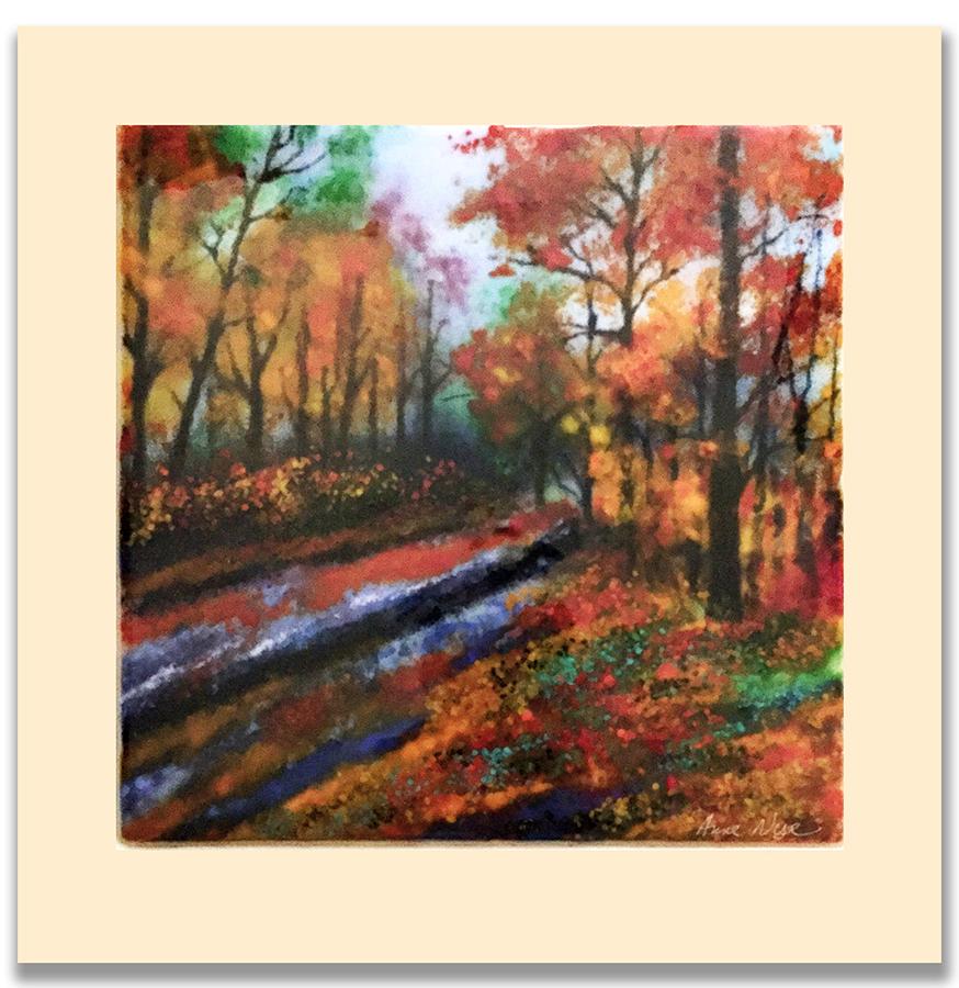 Autumn Walk. Glass Wall Art by Anne Nye