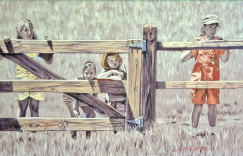 At the Fence. Oil Painting by Sharon Rusch Shaver