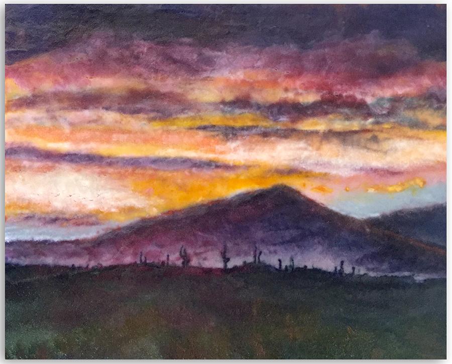 Desert Skies. Glass Wall Art by Anne Nye