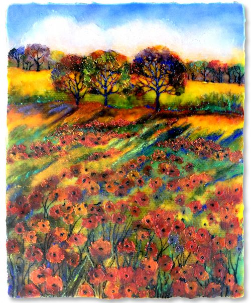Golden Hour Poppies. Glass Wall Art by Anne Nye
