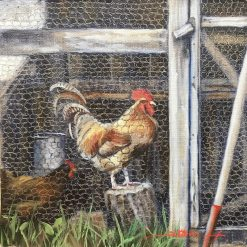 Rooster and Hen. Oil Painting by Sharon Rusch Shaver