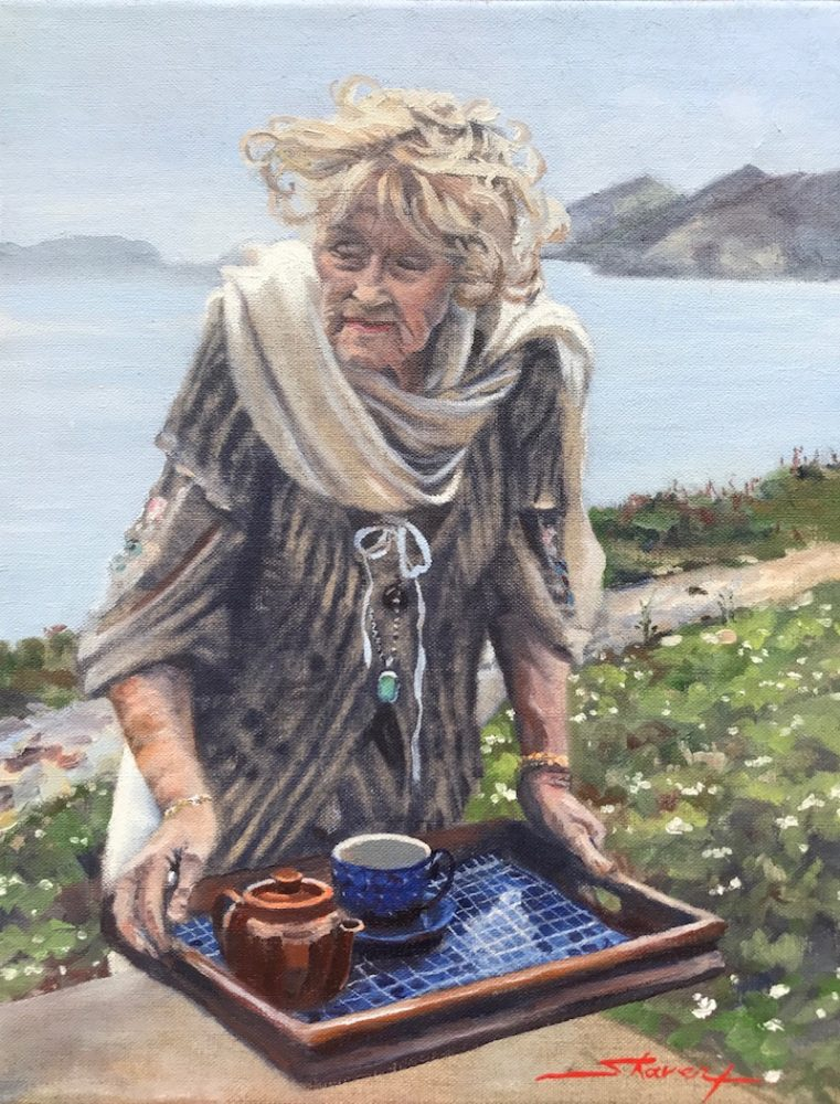 Tea in Ireland. Oil Painting by Sharon Rusch Shaver