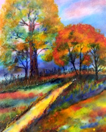 Pathway to Autumn. Glass Wall Art by Anne Nye