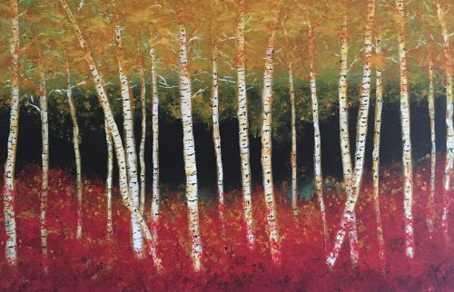 Birch Tree Forest by Joan Adam (Oil Painting)