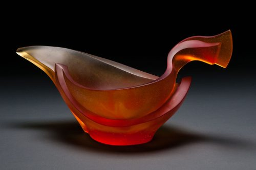 Aesop Vessel in Red/Orange & Yellow by Brian Russell (Art Glass) | American Artwork. After several requests for a lower height all-glass centerpiece-type vessel I designed Aesop. The name conjures