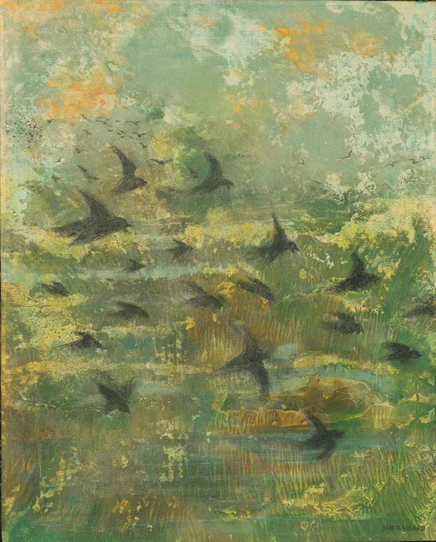 Migration Over Wetlands by Jan Bernard (Oil Painting)