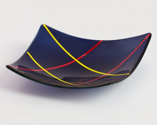 Blue Off-square glass bowl by Melody Lane (Art Glass) | American Artwork Black & White Square Plate