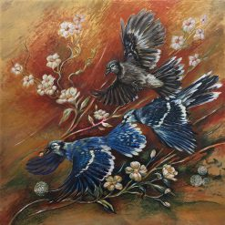 Blue Jay Chase by Lori Bradley (Acrylic Painting)