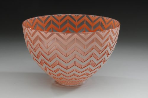 Chevron Bowl. Art Glass Bowl by Carrie Gustafson