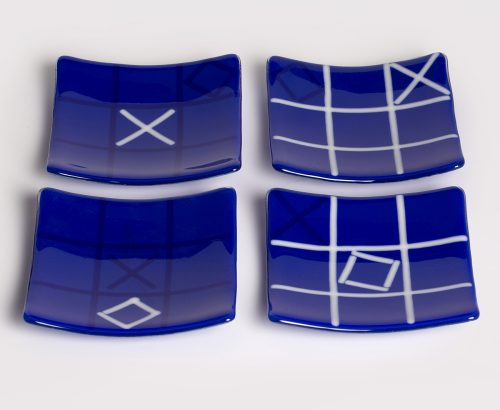 Cobalt tic-tac-toe plates by Melody Lane (Art Glass) | American Artwork Blue Off-square glass bowl
