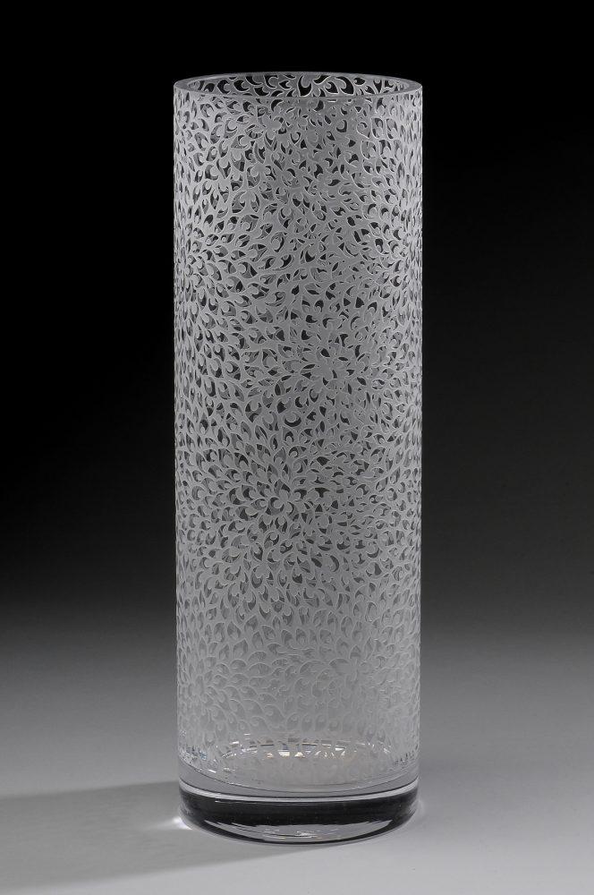 Dahlia Vase. Art Glass Bowl by Carrie Gustafson