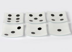 Dice small plates by Melody Lane (Art Glass)