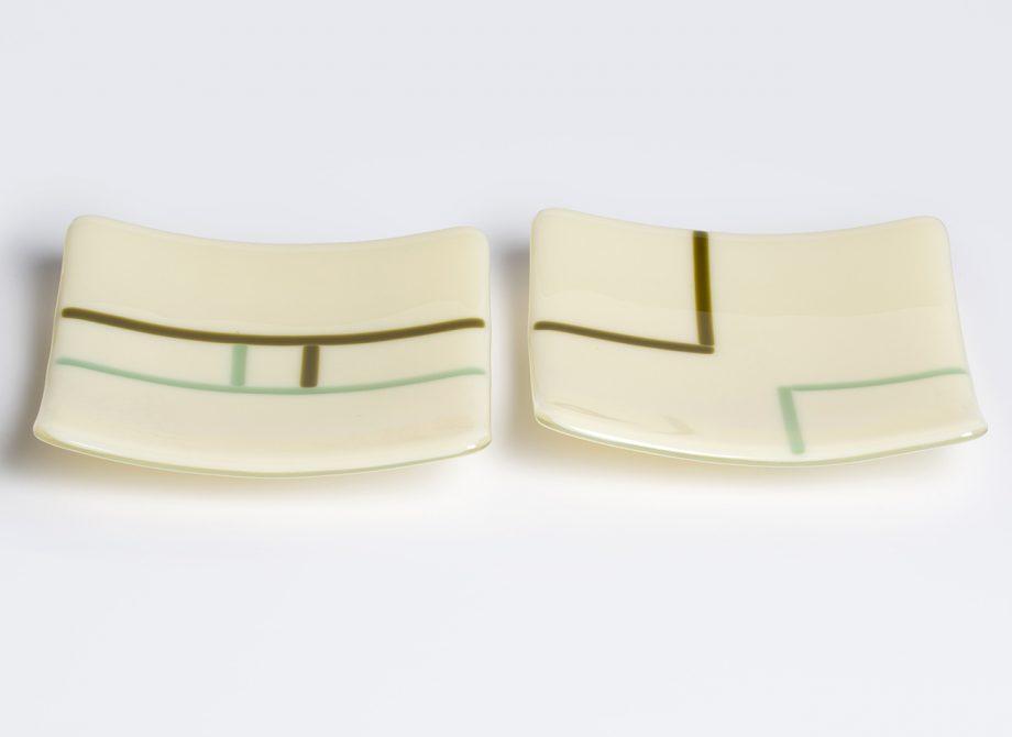 Ecru small plates by Melody Lane (Art Glass)