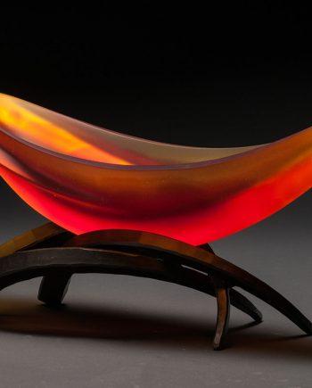 Elliptical Vessel in Yellow & Orange by Brian Russell (Art Glass)