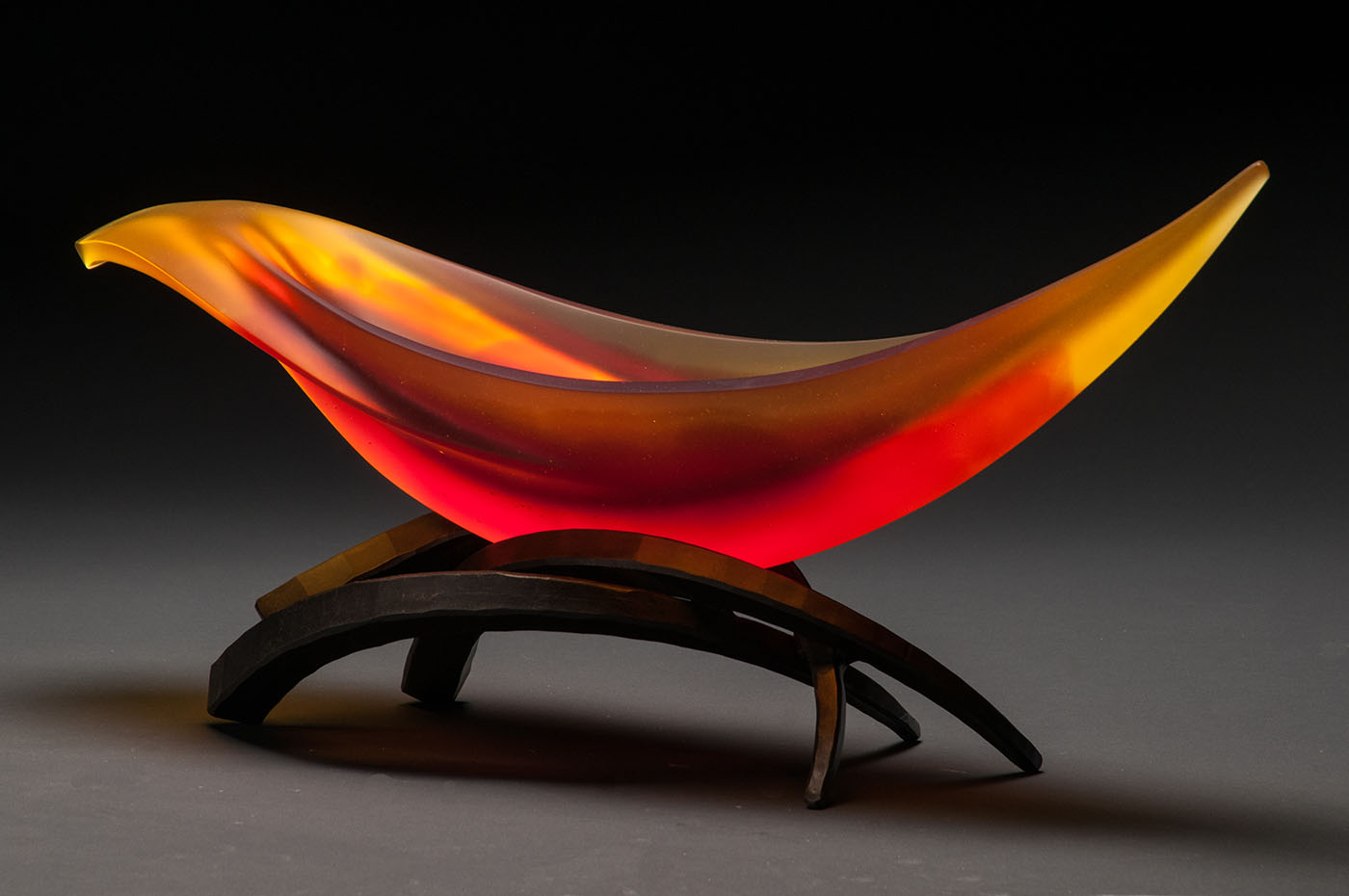 Elliptical Vessel in Yellow & Orange by Brian Russell (Art Glass)