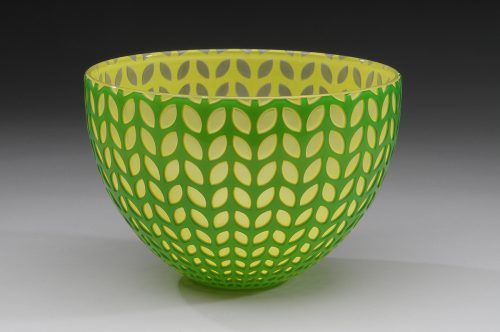 Green Leaf Bowl. Art Glass Bowl by Carrie Gustafson