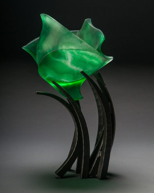 Hemipshere Anodyne in Emerald by Brian Russell (Art Glass) | American Artwork. Anodyne means calm