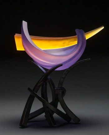 Hemisphere Anima in Hyacinth & Yellow by Brian Russell (Art Glass)