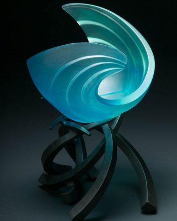 Hemisphere RipCurl in Aqua by Brian Russell (Art Glass)