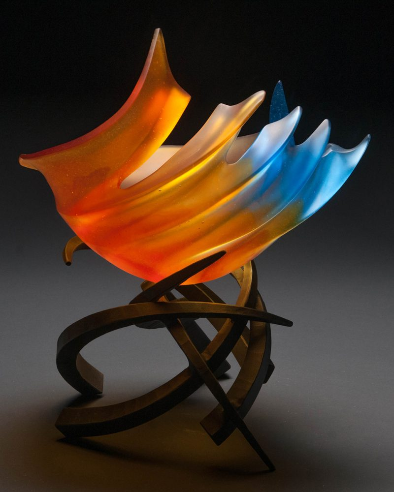 Hemisphere Tropicale in Aqua & RedOrange by Brian Russell (Art Glass)