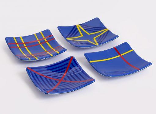 Medium Blue small plates by Melody Lane (Art Glass)