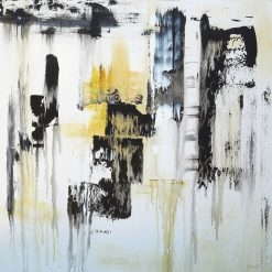 Mostly Black, Mustard 1 by Jora Nelstein (Acrylic Painting)