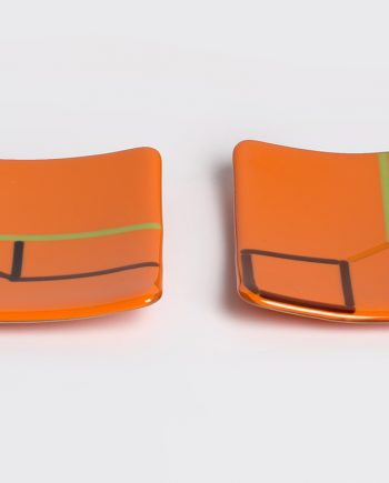 Orange small plates by Melody Lane (Art Glass)