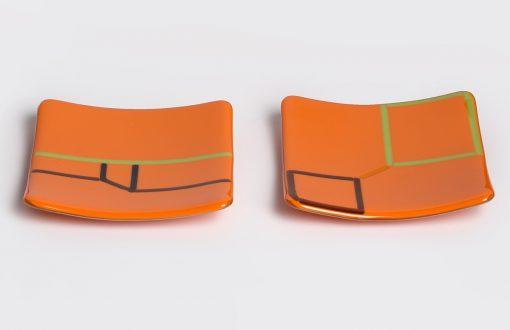 Orange small plates by Melody Lane (Art Glass)