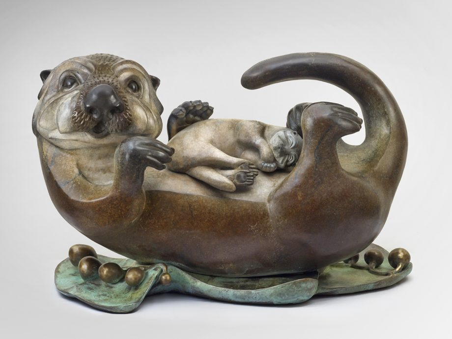 Sea Otter Mom & Pup by Pokey Park (Metal Sculpture)