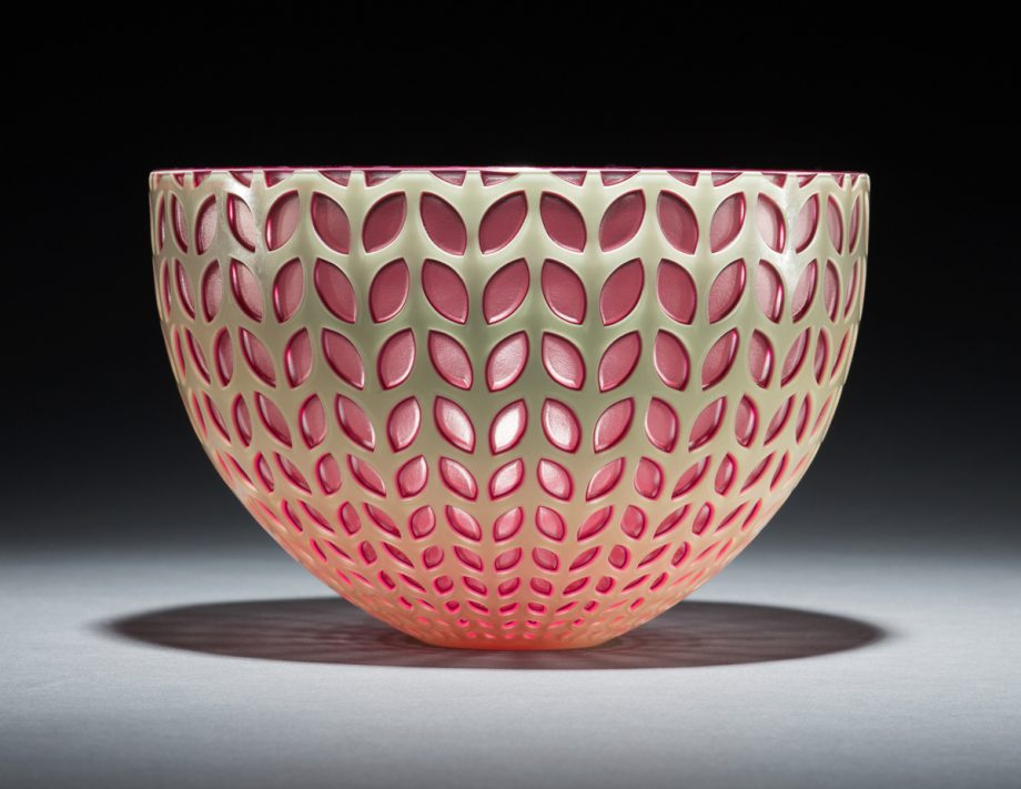 Pink Leaf Bowl. Art Glass Bowl by Carrie Gustafson
