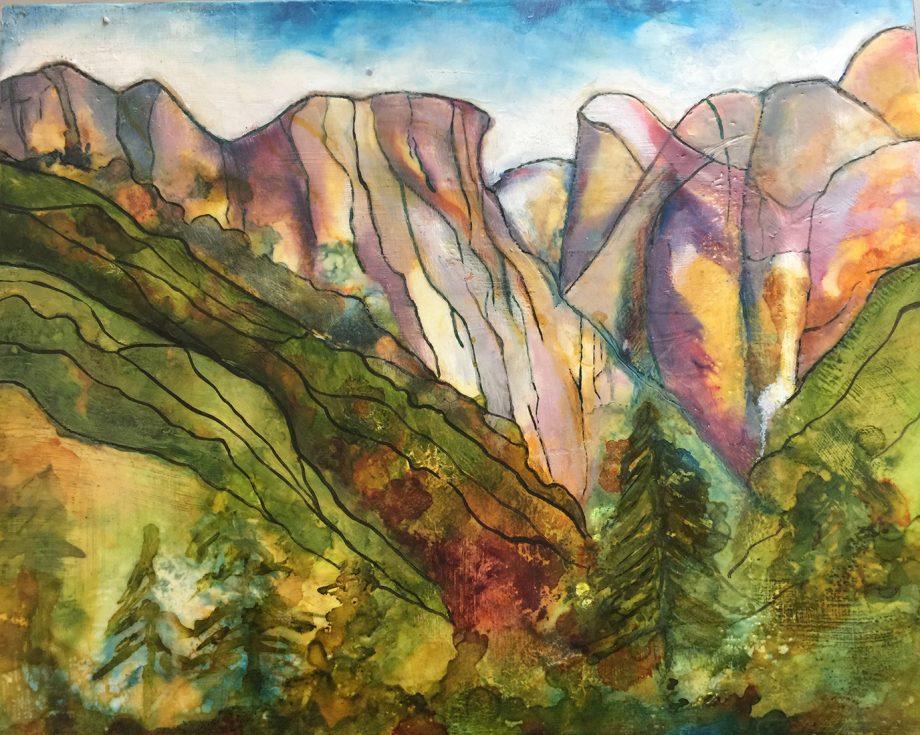 Yosemite Valley by Carolyn Reed (Encaustic Painting)