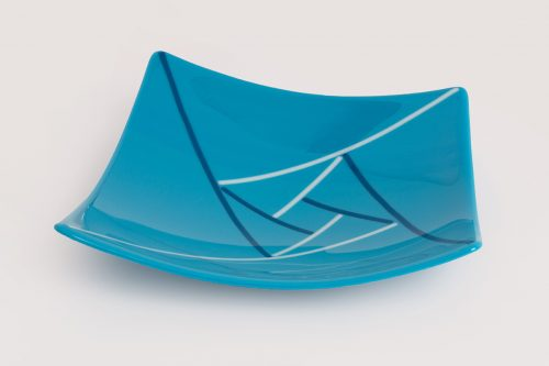 Turquoise Off-square glass bowl by Melody Lane (Art Glass)