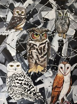 Owls with Black and White Abstract by Donald Woods (Acrylic Painting)